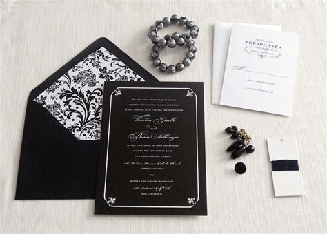 formal black and white wedding invitation sle 4 00