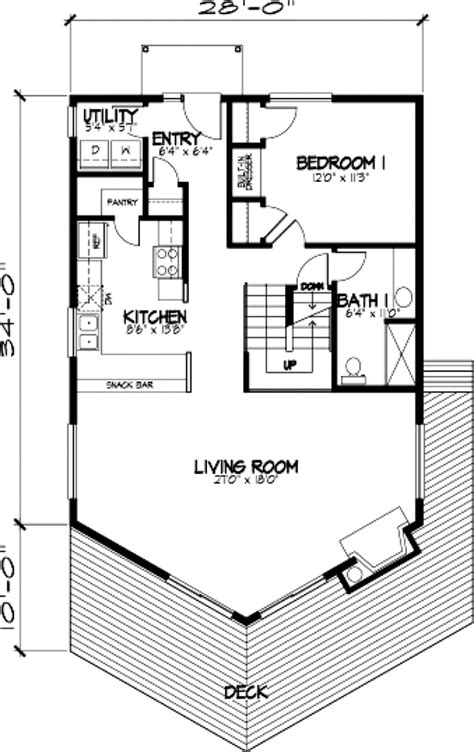 Contemporary Style House Plan 57437 with 3 Bed 2 Bath 1