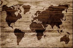 Weltkarte Bild Holz : weltkarte in holz eingebrannt leinwand auf keilrahmen bild ~ Lateststills.com Haus und Dekorationen