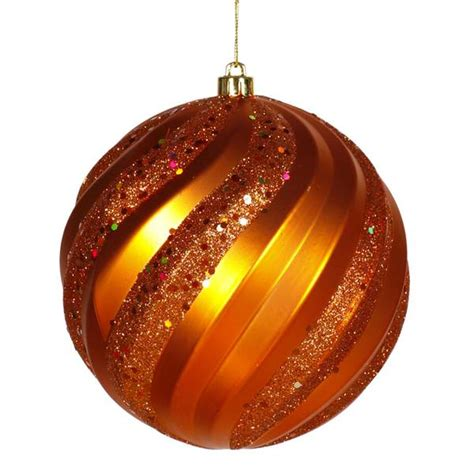 vickerman 23616 6 quot burnished orange matte glitter swirl