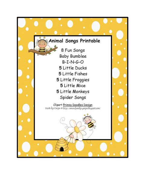 preschool printables free animal songs printable 373 | 3b7cf41e53fd277a2d73c1bba4e9720c