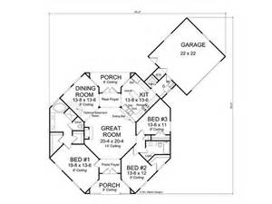 one story cottage plans floor plan hexagon house contemporary home 059h 0142