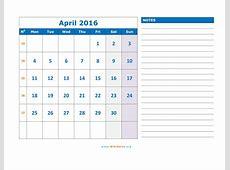 April 2016 Calendar WikiDatesorg