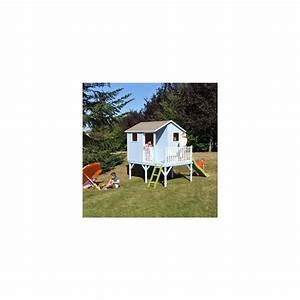 Maisonnette En Bois Sur Pilotis : maisonnette en bois brut sur pilotis sixtine avec toboggan ~ Dailycaller-alerts.com Idées de Décoration