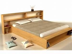 Lit Double Bois : lit avec rangement bois ~ Premium-room.com Idées de Décoration
