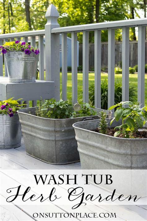 Vintage Galvanized Wash Tub Herb Garden Sutton Place