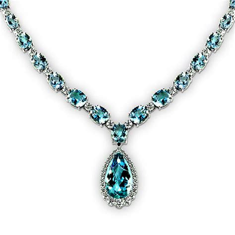 pearl and pendant necklace pear shape aquamarine necklace jewelry designs