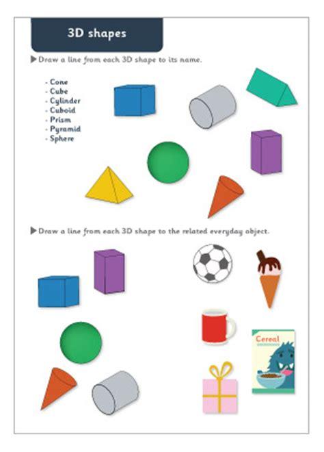 3d shapes revision worksheet 2d worksheets and shape on