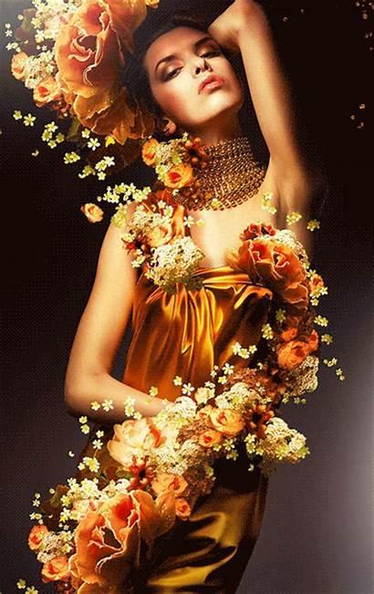 Woman Flowers Animation Gifs Yellow Sensual Decent