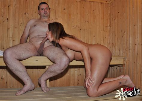 carly cum slut gets very horny and wet in the sauna as she rides cock and granny seduction