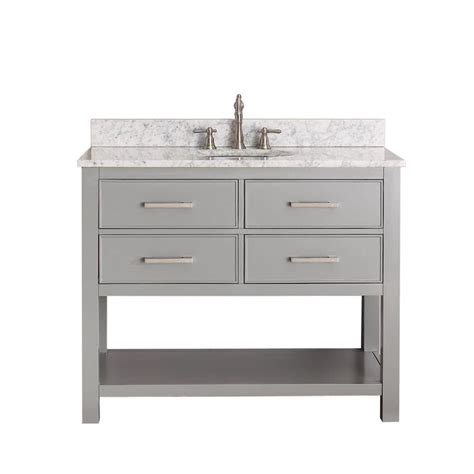 shop avanity brooks chilled gray single sink vanity  white natural marble top common