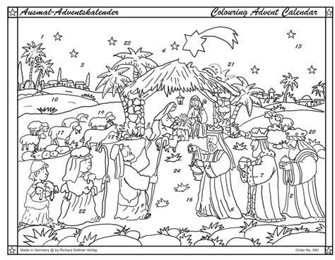 traditional bethlehem nativity scene christmas advent colouring calendar  envelope
