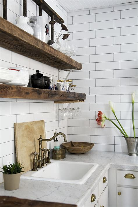reclaimed wood kitchen shelves kitchen subway tiles are back in style 50 inspiring designs