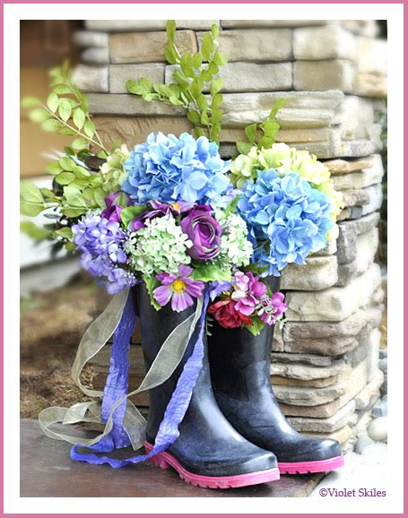 create beauty rain boots bouquet