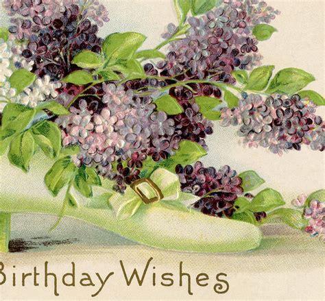 vintage birthday card lilacs  graphics fairy