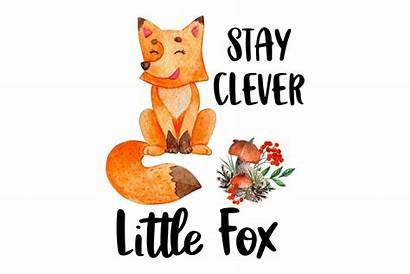 Clever Clipart Stay Fox Sublimation Watercolor Designer