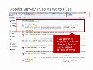 using basic metadata to organize content With word documents metadata