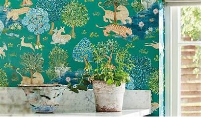 Sanderson Caspian Wallpapers Textilia Anaar Tree Andhara