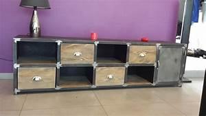 Meuble Bas Bois : meuble bois acier ~ Teatrodelosmanantiales.com Idées de Décoration