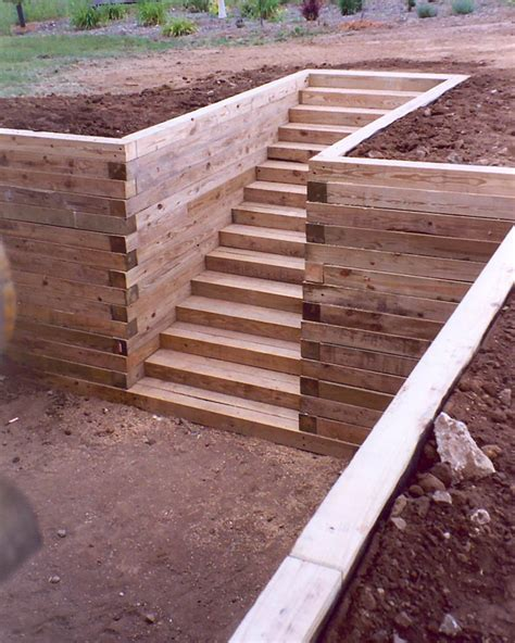 wood retaining wall construction terraced garden retaining walls landscape design wood retaining wall steps landscape stairs