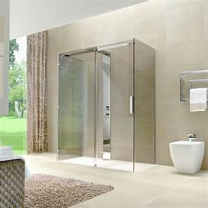 Cabine de douche sans cadre a porte coulissante oops for Cabine de douche sans porte