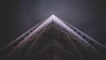 4k Architecture Modern Skyscraper Bottom Facade Night