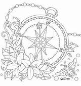 Coloring Compass Adult Adults Desenhos Printable Pattern Mandala Tattoo Flower Drawing Colouring Sheets Colorear Problems Carnaval Math Mandalas Worksheets Creative sketch template