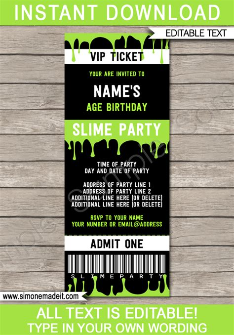 slime party ticket invitation template slime birthday