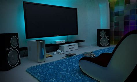 Video Game Room Interior Design And Decoration. Teen Corner Desk. Bed With Nightstands Attached. 4x6 Area Rugs. Shoji Screen Doors