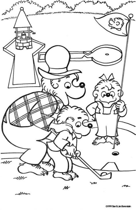 coloring activity pages papa brother sister playing miniature golf