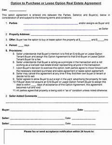 real estate option agreement template emsecinfo With real estate option agreement template
