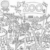 Zoo Coloring Poster Colouring Posters Entrance Clipart Giant Drawings System sketch template