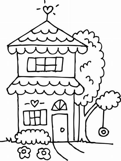 Coloring Clipart Outline Story Clip Houses Line