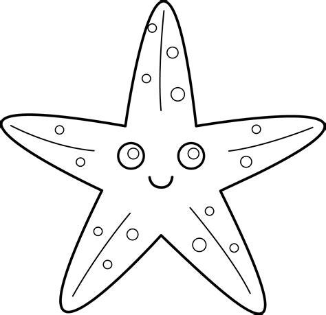 Cute Starfish Line Art Free Clip Art