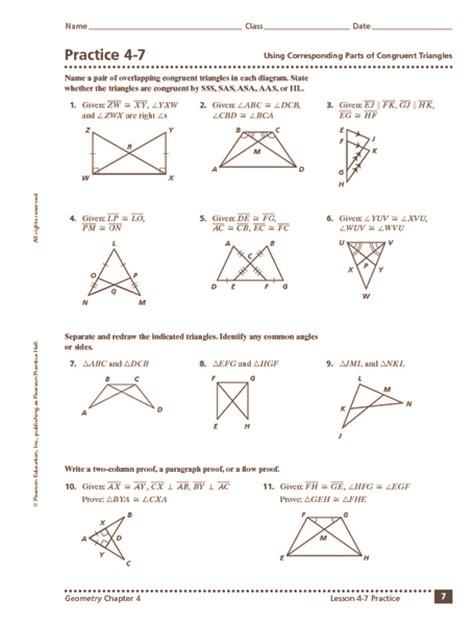 similar and congruent triangles worksheet worksheets for