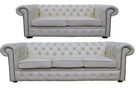 White Leather Sofa Ebay by Chesterfield 3 2 Seater Real White Leather Sofa