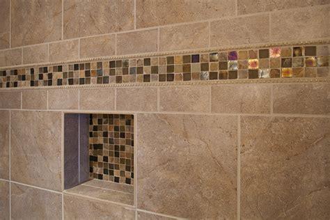 master bathroom shower closeup on accent tile