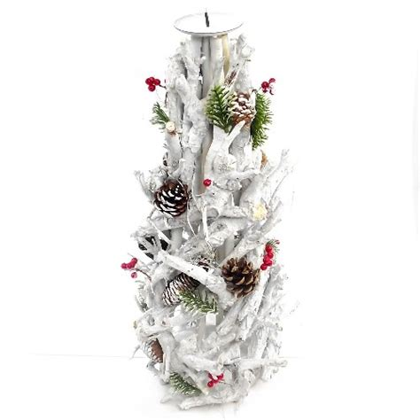 858433 twiggy candle holder with christmas decoration