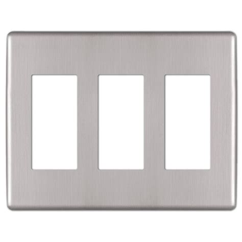 hton bay kentley screwless steel 3 decora wall plate