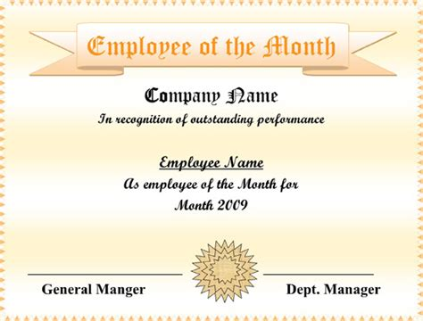 employee   month certificate templates word