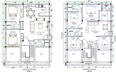 Quick 2 & 4 Bedroom House Designed In Autocad