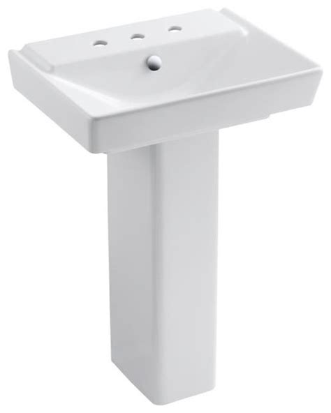 kohler k 5152 8 0 reve 23 quot lavatory basin and pedestal contemporary bathroom sinks by