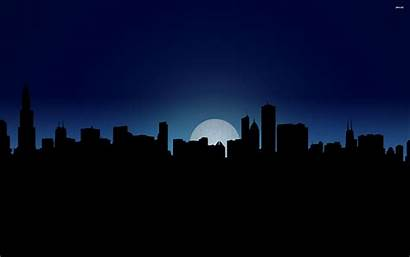 Skyline Night Chicago Vector Seattle Wallpapers Background