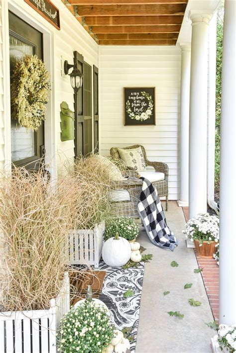 Pretty Porches And Terraces by Black White Fall Porch Fall Decorating Ideas Fall