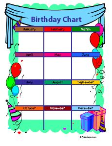 Birthday Chart Template For Classroom by 4 Birthday Charts Freeology