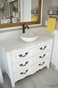 Old dresser turned bathroom vanity tutorial for Old dresser made into bathroom vanity