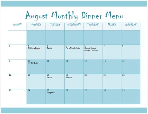 monthly menu template word templates