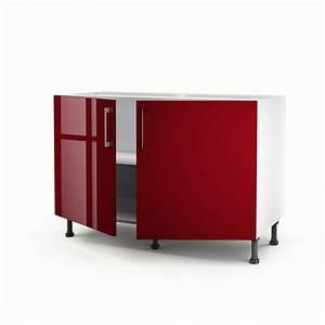 Meuble Sous Evier 120 : meuble de cuisine sous vier rouge 2 portes griotte x ~ Nature-et-papiers.com Idées de Décoration