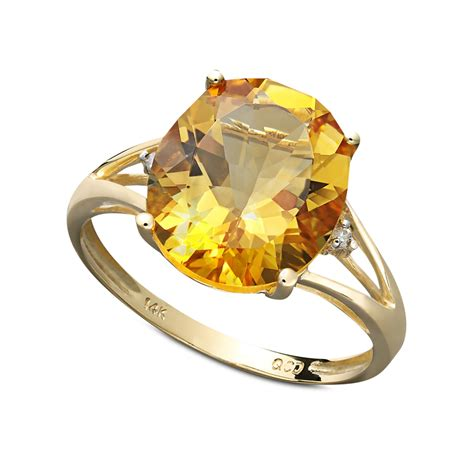 hue citrine  diamond accent statement ring  gold lyst