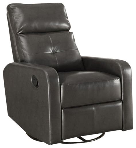 monarch specialties charcoal grey bonded leather swivel